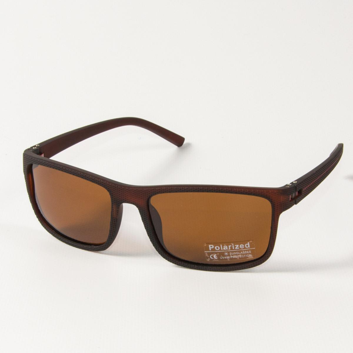Оптом поляризационные  спортивные мужские солнцезащитные  очки  (арт. P76070/3) коричневые