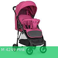 Коляска детская M 4249 Pink (2шт) прогулочная, книжка,корзина, чехол, розовый