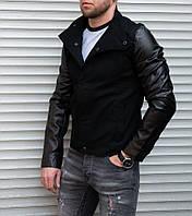 Мужская коттоновая куртка с кожаными рукавами