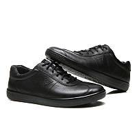 Мужские кожаные кроссовки кеды ECCO Soft 1 Men's, чёрный. Размер 41-44, фото 1