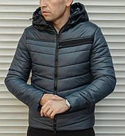Мужская синяя куртка с капюшоном из плащевки на синтепоне