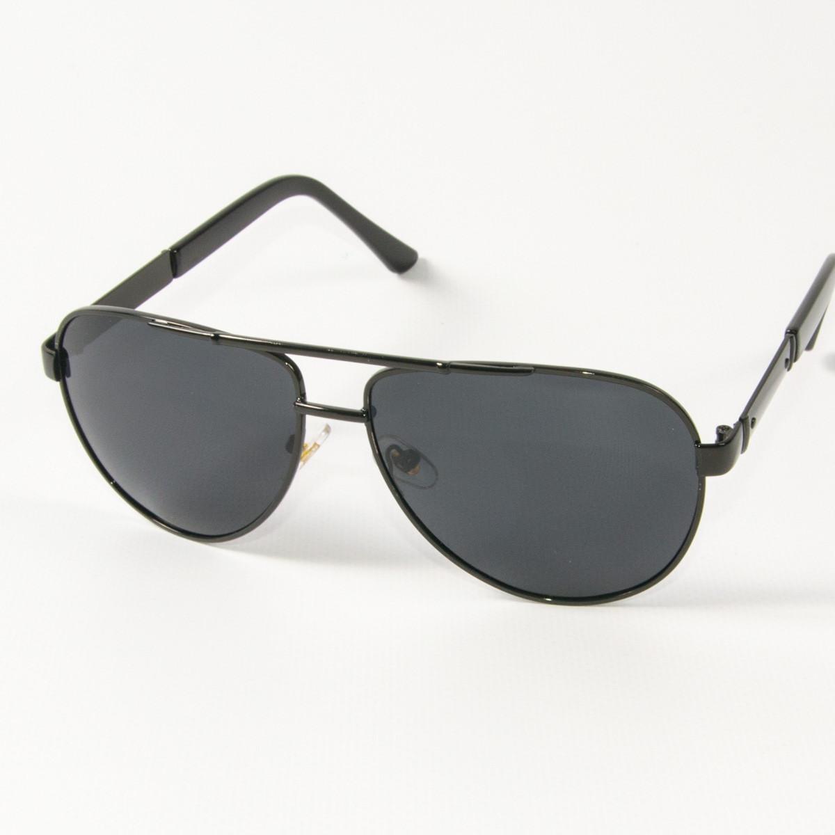 Оптом поляризационные  солнцезащитные  очки авиаторы (арт. P9108/1) с черной оправой