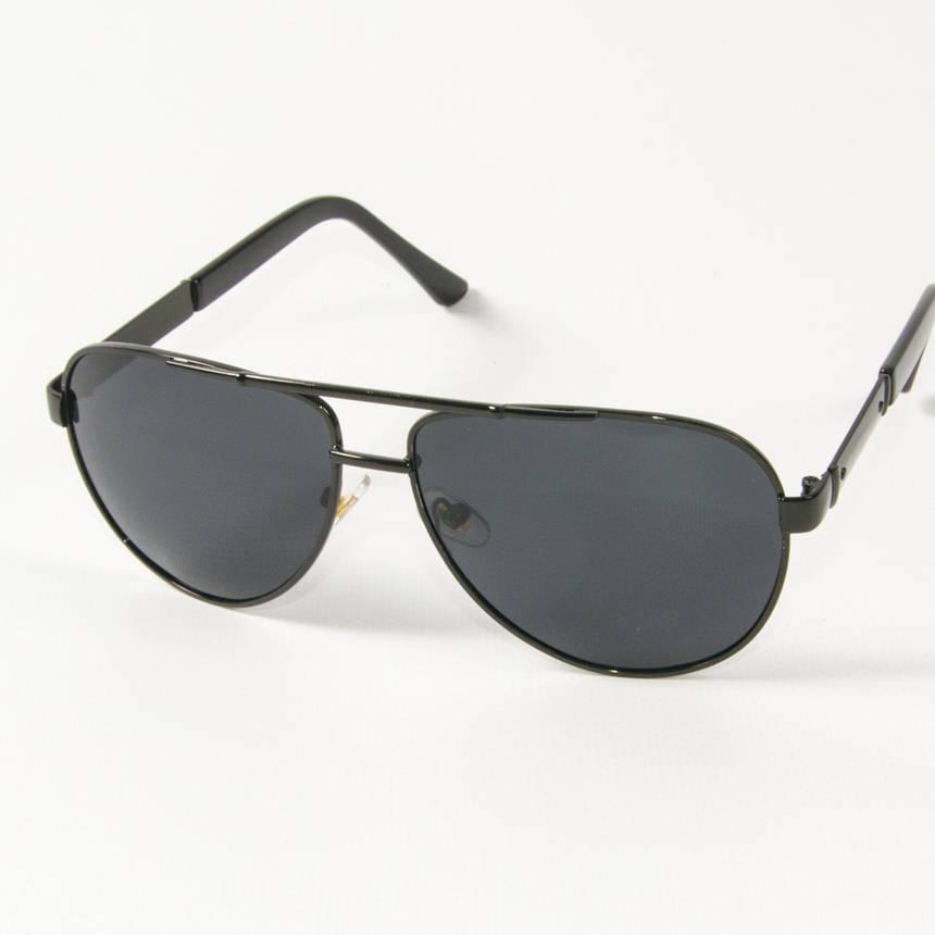 Оптом поляризационные  солнцезащитные  очки авиаторы (арт. P9108/1) с черной оправой, фото 2