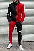 Спортивный мужской костюм двухцветный с капюшоном , трикотаж , черный с красным