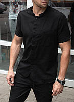 Мужская летняя рубашка чёрная из льна