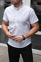 Мужская белая льняная рубашка короткий рукав
