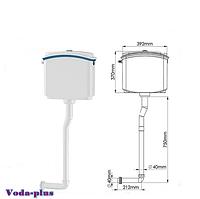 Пластиковый сливной бачок для унитаза с кнопочным механизмом спуска воды и комплектом труб