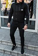 Мужской чёрный спортивный костюм The North Face с двумя молниями