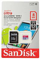 Карта памяти SanDisk Ultra microSD HC UHS-I 8GB Class 10 + SD-adapter (4508)