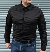 Чёрная мужская рубашка длинный рукав