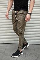 Мужские брюки зауженные на резинке , декоративные молнии , хаки