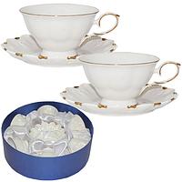 Сервиз на 6 персон (чашка-220мл, блюдце-14см) Снежная королева (белый с золотом) 1шт 170