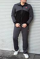 Мужской спортивный костюм серый EA7 прямые штаны