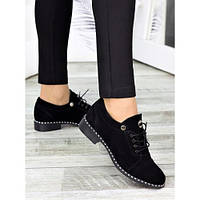 Женские туфли черные натуральная замша, фото 1