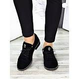 Жіночі туфлі чорні натуральна замша, фото 4