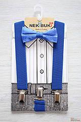 ОПТОМ Бабочка с подтяжками синие однотонные для мальчика Nekibuki 2125000661322
