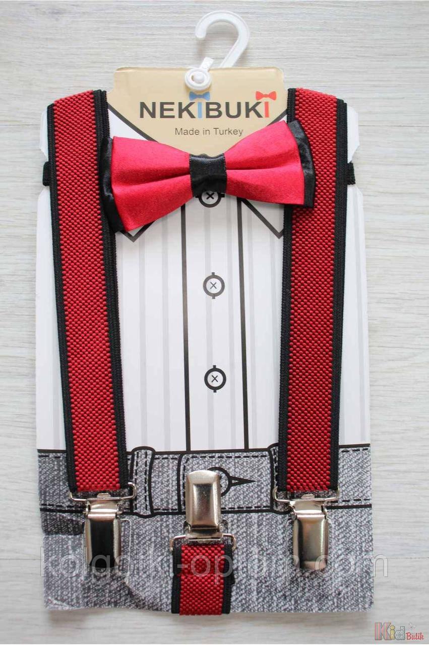 ОПТОМ Бабочка с подтяжками красно-черные для мальчика Nekibuki 2125000661384