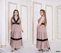 Длинное женское платье Модель 635 беж