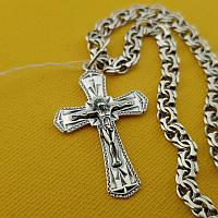 Комплект! Серебряная цепочка с крестиком. Мужской кулон и цепь из серебра 925