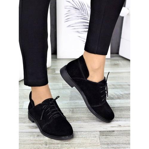 Замшевые черные женские туфли низкий ход