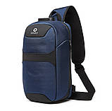 Однолямочный рюкзак Ozuko 9270 с кодовым замком синий 9л, фото 2