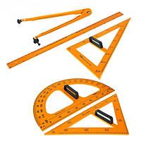 Набор ЧЕРТЕЖНЫЙ для школьной доски, 5 предметов: 2 треугольника, 1 транспортир, 1 циркуль, 1 линейка