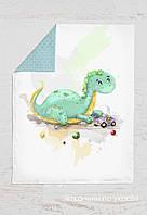 Панелька Премиум сатин Динозавр зеленый 100*75