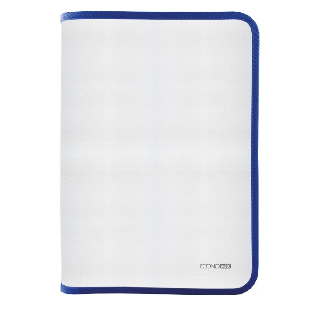 Папка-пенал пластиковая на молнии Economix А4, прозрачная, фактура: ткань, молния синяя E31644-02