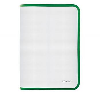 Папка-пенал пластиковая на молнии Economix А4, прозрачная, фактура: ткань, молния зеленая E31644-04