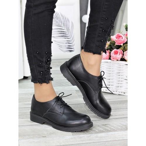 Женские туфли оксфорды черные натуральная кожа