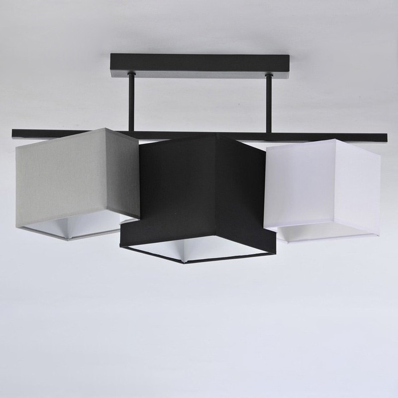 Люстра потолочная на три лампы с абажуром NM-814741/3A BK+MIX E27 TK черная