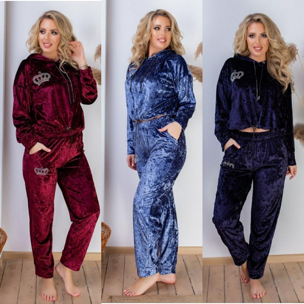 Костюм женский домашний, велюровый, модный, повседневный, кофта с карманами и капюшоном, от 42 до 60 р-ра