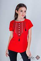 Практична повсякденна вишита жіноча футболка у червоному кольорі «Намисто», фото 1