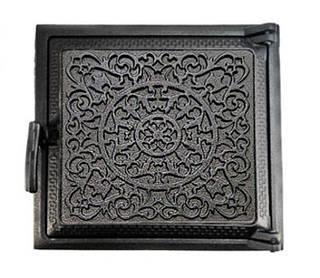 Топочная дверца для печи 260х290мм, чугунная печная дверка 102851
