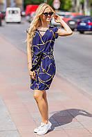 Нежное летнее платье с атласным поясом синего цвета