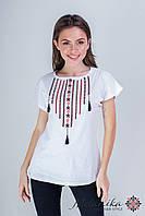 Класична біла жіноча футболка із українським орнаментом «Намисто», фото 1