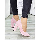 Женские розовые туфли на толстом каблуке, фото 2