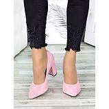 Женские розовые туфли на толстом каблуке, фото 4