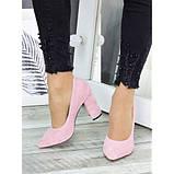 Женские розовые туфли на толстом каблуке, фото 5