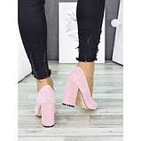 Женские розовые туфли на толстом каблуке, фото 3