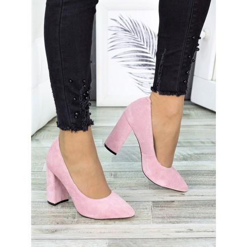 Женские розовые туфли на толстом каблуке