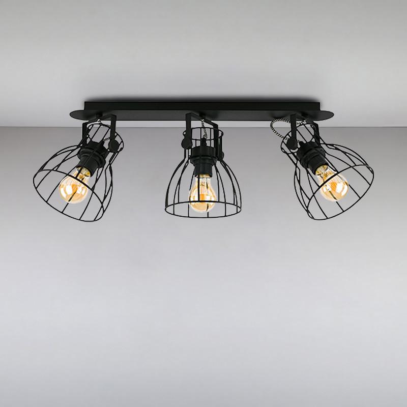 Люстра лофт на три лампы NM-814745/3 BK+BK E27 ME черная