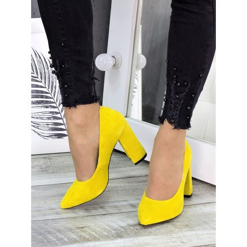 Женские туфли на толстом каблуке желтого цвета замша 7283-28
