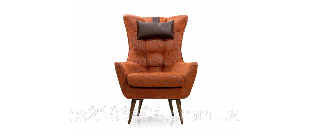 Крісло сучасне на дерев*яних ніжках у якісній тканині GEORGETTI