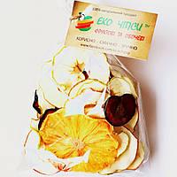 Фруктові чіпси з яблук-35, сливи-9 і ананаса-6, суміш 50 грам, фото 1