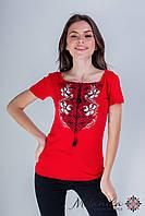 Жіноча вишита футболка у молодіжному стилі «Лілея з червоним», фото 1