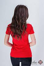 Женская вышитая футболка в молодежном стиле «Лилея с красным», фото 3