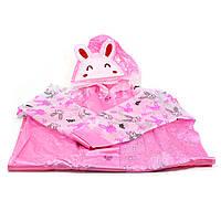 Плащ дождевик Lesko детский водонепроницаемый с местом под рюкзак розовый L для девочек детей от дождя