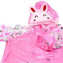 Плащ дождевик Lesko детский водонепроницаемый с местом под рюкзак розовый M для девочек детей от дождя, фото 3