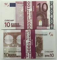 Деньги сувенирные 10 евро - 80 шт, фото 1